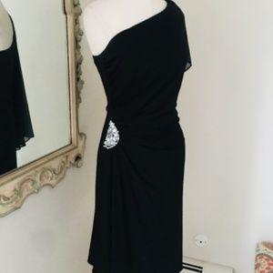 One shoulder black cocktail dress by Cachet sz 8